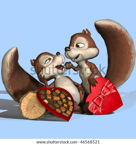"male squirrel feed his wife. (""I wanna be her Valentine!"") - stock photo"