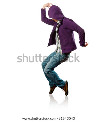 male street dancer, dance like michael jackson - stock photo