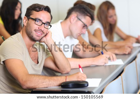 Male student at the university - stock photo