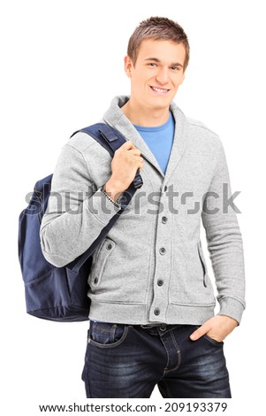 Male student carrying a backpack isolated on white background - stock photo