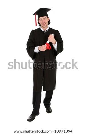 Male student graduating - stock photo