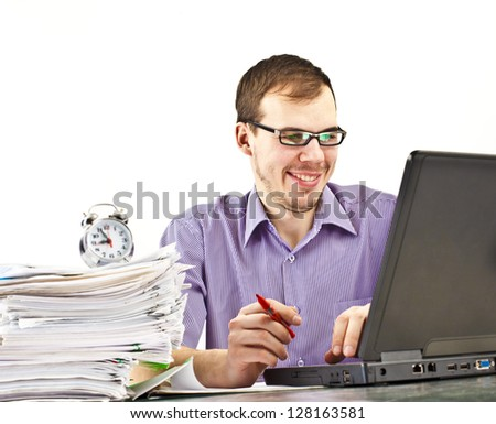 Male student happy about research results from the internet