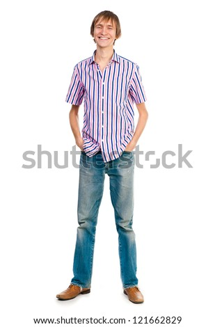 male student looking at the camera on a white background - stock photo