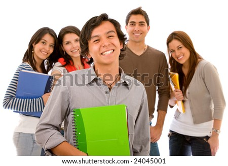 Male student standing in front of a group of friends - isolated