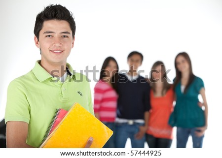 Male student with a group, holding notebooks - isolated over white - stock photo