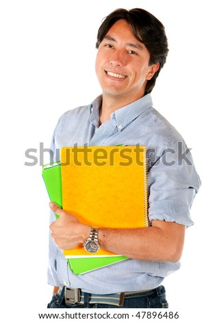 male student with a notebook isolated over a white background