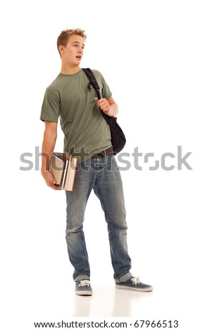 Male student with books and backpack