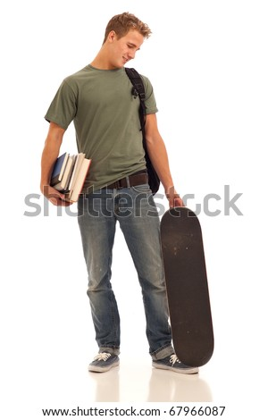 Male student with books and skateboard