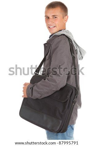 male student with laptop bag, white background - stock photo