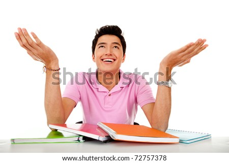 Male student with notebooks - isolated over a white backgound