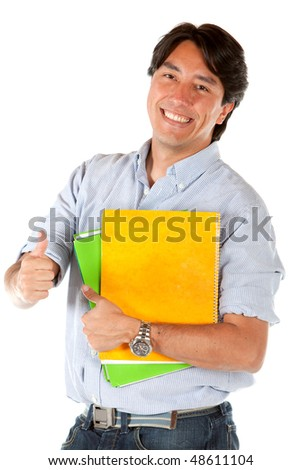 male student with thumb up isolated over a white background