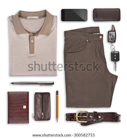 Male summer clothes and accessories isolated on white - stock photo