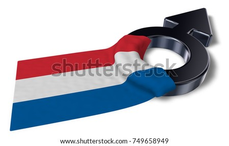 male symbol and flag of the netherlands - 3d rendering