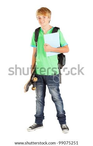 male teen student full length portrait on white - stock photo