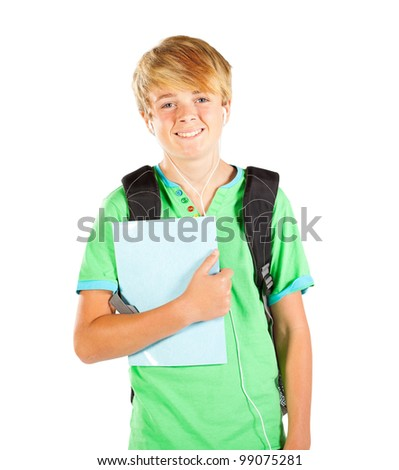 male teen student half length portrait isolated on white - stock photo