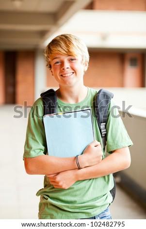male teen student portrait in school - stock photo