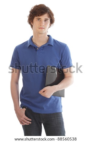Male teenage Student holding a folder - stock photo