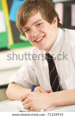 Male Teenage Student Studying In Classroom - stock photo