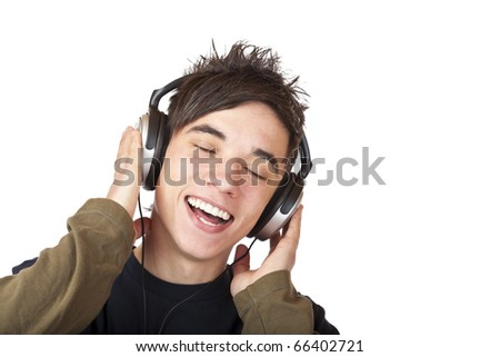 Male Teenager listening to music via headphone and sings. Isolated on white background.