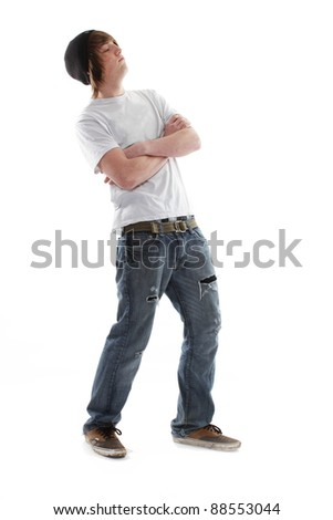 Male teenager skate board dude - stock photo