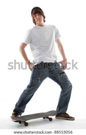 Male teenager skate board dude - stock photo