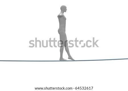 male tight rope walker 3d concept image - stock photo