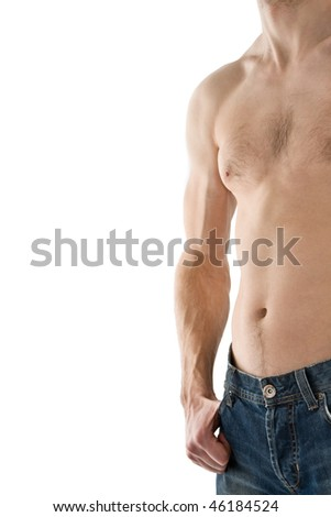 male torso isolated on white