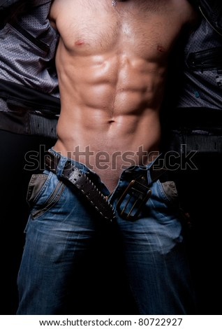 male torso with muscular abs - stock photo