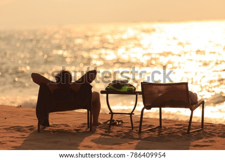 Male Traveler Sitting On Chair Beach Stock Photo 100 Legal