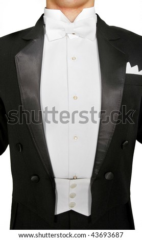 male tuxedo over white - stock photo