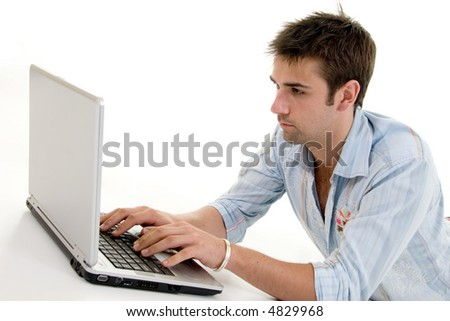 Male Using Laptop