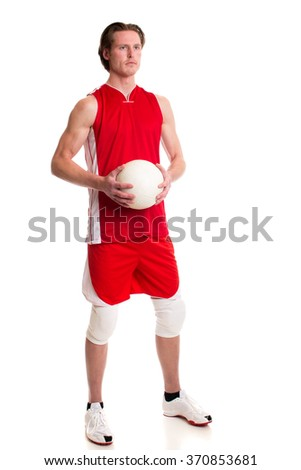 Male volleyball player. Studio shot over white.
