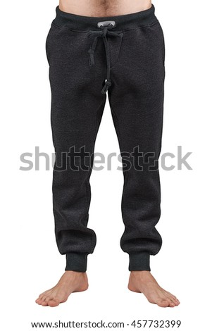 Male warm black fleece pants