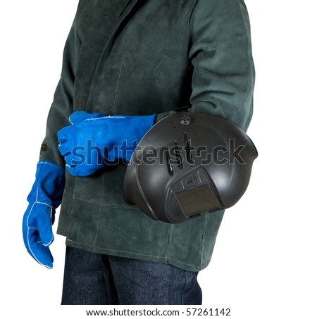male welder closeup with welding equipment on a white - stock photo