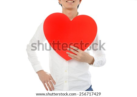 Male white shirt that holding a big red heart