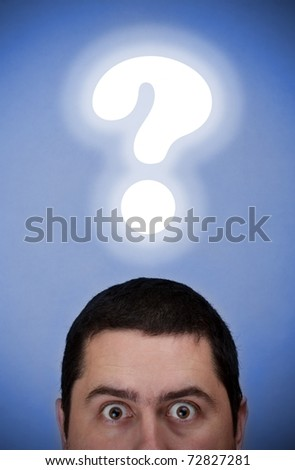 Male with a question mark over his head - stock photo