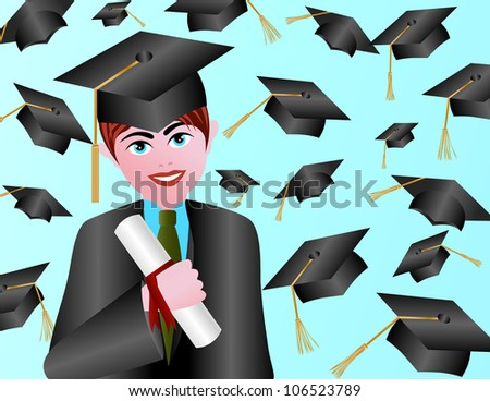 Male with Graduation Gown Cap and Diploma Raster Vector Illustration