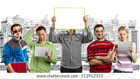 Male with group of people, with write board in his hands, against his head - stock photo