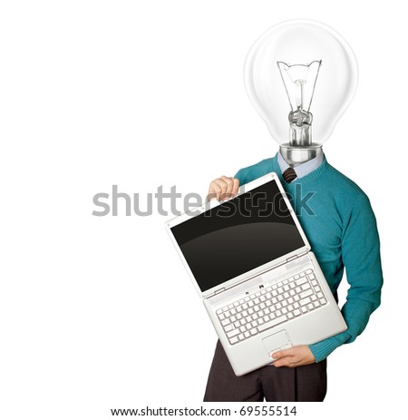 Male with lamp-head in blue, with open laptop in his hands