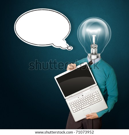 Male with lamp-head in blue, with open laptop in his hands and comics bubble