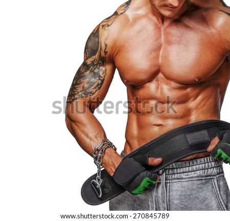 Male with muscular torso holding power weist. Isolated on white - stock photo