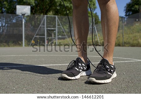 Male with Skipping Rope - stock photo