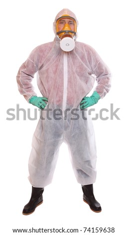 Male worker in bio-hazard suit on white background. - stock photo