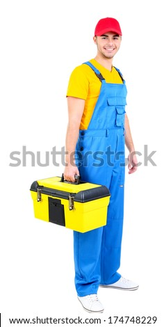Male worker with toolbox isolated on white - stock photo