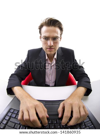 male working point of view from the computer webcam - stock photo