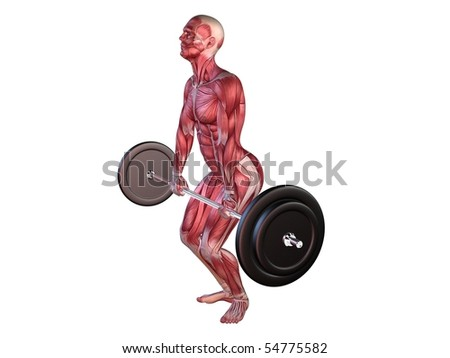 male workout - deadlifts - stock photo