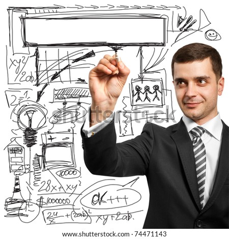 male writing something on glassboard with marker - stock photo