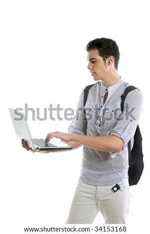 Male young student homework with laptop computer isolated on white - stock photo