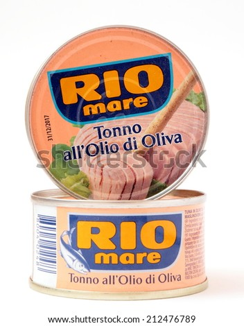 MALESICE, CZECH REPUBLIC - AUGUST 23, 2014: Can of Rio Mare brand tuna in olive oil. Rio Mare is manufactured by Bolton Group, the European leader in canned tuna fish. - stock photo