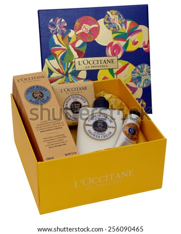 MALESICE, CZECH REPUBLIC - FEBRUARY 16, 2015: L'Occitane Christmas gift box. L'Occitane is a French cosmetics retailer, it has shops in 90 countries all over the world.
